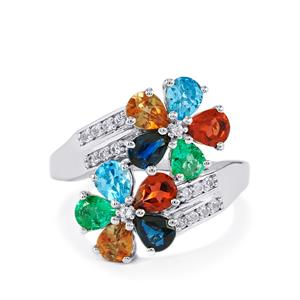 3.45ct Kaleidoscope Gemstones Sterling Silver Ring