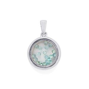 Optic Quartz Pendant with Madagascan Blue Apatite in Sterling Silver 4.25cts