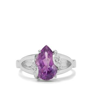 Moroccan Amethyst & White Zircon Sterling Silver Ring ATGW 2.76cts