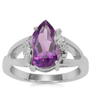 Moroccan Amethyst Ring with White Zircon in Sterling Silver 2.76cts