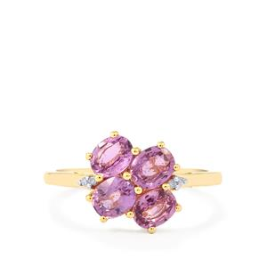Natural Purple Sapphire Ring with Diamond in 10k Gold 1.74cts