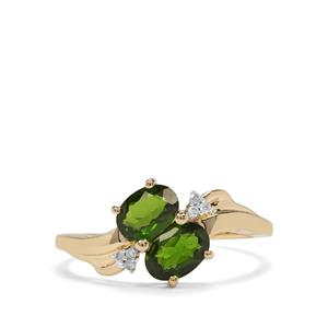 Chrome Diopside & Diamond 10K Gold Ring ATGW 1.20cts