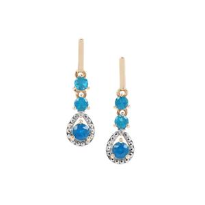 Neon Apatite Earrings with Diamond in 9K Gold 1.13cts