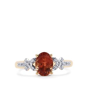 Oregon Sunstone Ring with Diamond in 18K Gold 1.10cts
