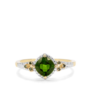Chrome Diopside & Green Diamond 9K Gold Ring ATGW 1.09cts