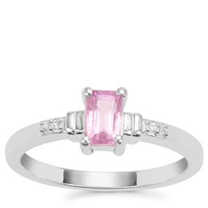 Ilakaka Hot Pink Sapphire Ring with White Zircon in Sterling Silver 0.86ct