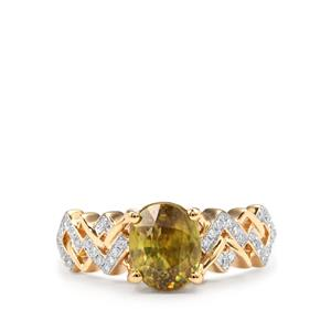 Ambilobe Sphene Ring with Diamond in 18K Gold 2.19cts