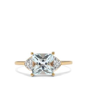 Pedra Azul Aquamarine Ring with Diamond in 10K Gold 1.53cts