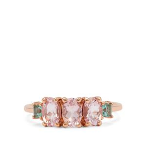 Cherry Blossom Morganite Ring with Aquaiba™ Beryl in 9K Rose Gold 1.35cts