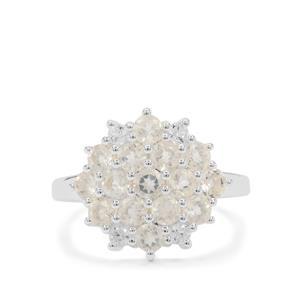 Plush Diamond Sunstone & White Zircon Sterling Silver Ring ATGW 1.90cts