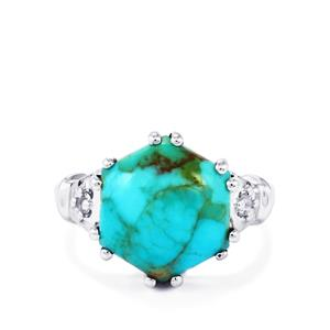 Cochise Turquoise Ring with White Topaz in Sterling Silver 5.70cts