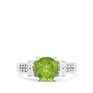 Changbai Peridot & White Topaz Sterling Silver Ring ATGW 2.38cts