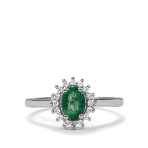 Zambian Emerald & White Zircon Sterling Silver Ring ATGW 0.90cts