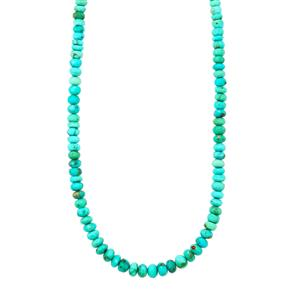 Sleeping Beauty Turquoise Graduated Bead Necklace with Magnetic Clasp in Sterling Silver 59cts