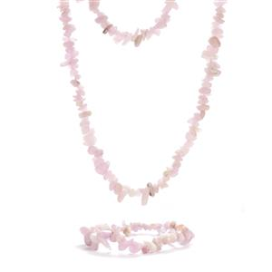Kunzite Set of Necklace and Bracelet 506.85cts