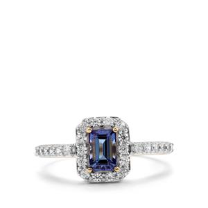 AA Tanzanite & White Zircon 9K Gold Ring ATGW 1.14cts