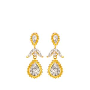 1/2ct Diamond Earrings in Gold Plated Sterling Silver