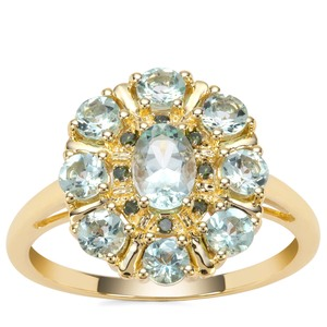 Aquaiba™ Beryl Ring with Green Diamond in 9K Gold 1.17cts