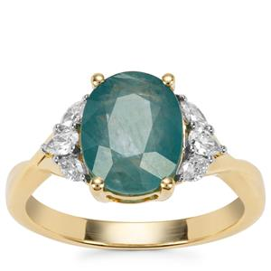 Grandidierite Ring with Diamond in 18K Gold 2.81cts