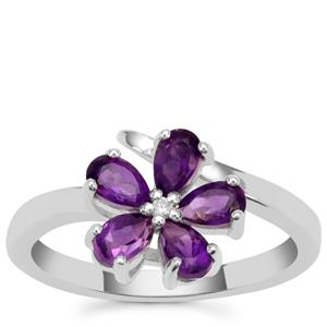 Zambian Amethyst Ring with White Zircon in Sterling Silver 1.05cts
