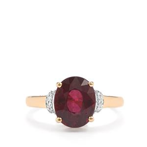 Malawi Garnet Ring with Diamond in 18K Gold 4.10cts