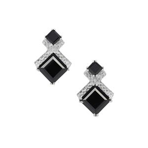 Black Spinel Earrings in Sterling Silver 7.55cts