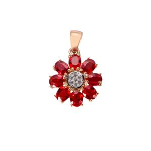 Winza Ruby Pendant with White Zircon in 9K Gold 2.38cts