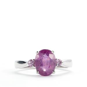 Ilakaka Hot Pink & Pink Sapphire Sterling Silver Ring ATGW 2.91ct
