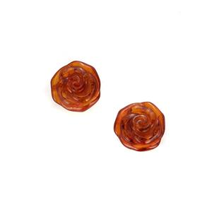 Baltic Cognac Amber Earrings in Sterling Silver (15x15mm)