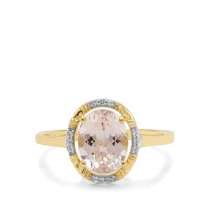 Rose Danburite Ring with White Zircon in 9K Gold 1.90cts