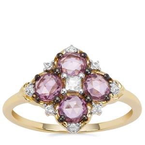 Sakaraha Pink Sapphire Ring with White Zircon in 9K Gold 1.16cts