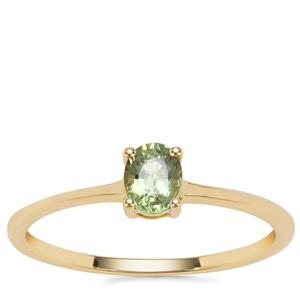 Green Sapphire Ring in 9K Gold 0.44cts