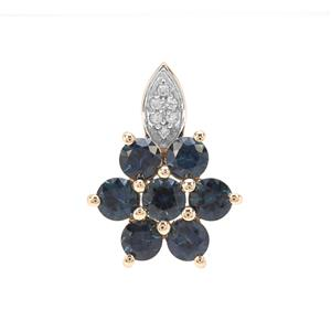 Australian Blue Sapphire Pendant with White Zircon in 9K Gold 1.49cts