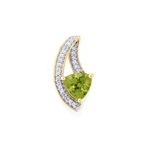 Changbai Peridot Pendant with White Zircon in 10k Gold 1.96cts