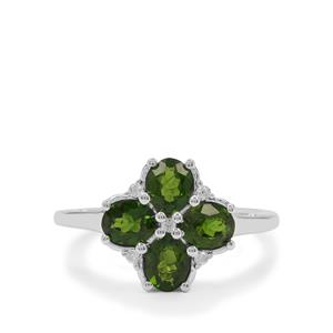 Chrome Diopside Ring with White Zircon in Sterling Silver 1.60cts