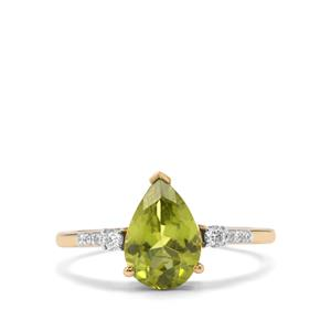 Pakistani Peridot Ring with Diamond in 14K Gold 2.28cts