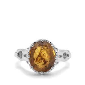 Burmese Amber Sterling Silver Ring (12x10mm)