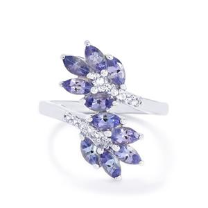 AA Tanzanite & White Topaz Sterling Silver Ring ATGW 1.75cts