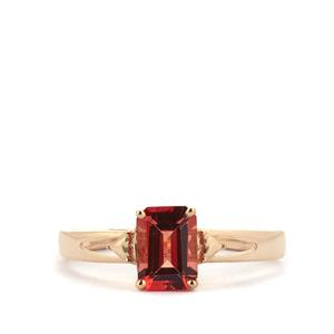 0.92ct Mongolian Red Andesine 9K Gold Ring