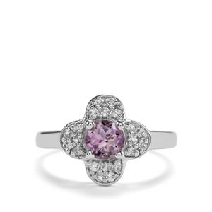 Rose du Maroc Amethyst Ring with White Topaz in Sterling Silver 1.11cts