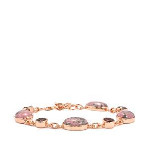 Rhodonite & Rhodolite Garnet Rose Gold Vermeil Bracelet ATGW 32.53cts