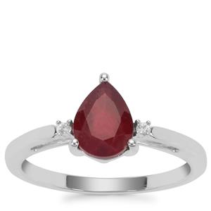 Malagasy Ruby Ring with White Zircon in Sterling Silver 1.65cts
