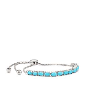Sleeping Beauty Turquoise Slider Bracelet in Sterling Silver 2.18cts