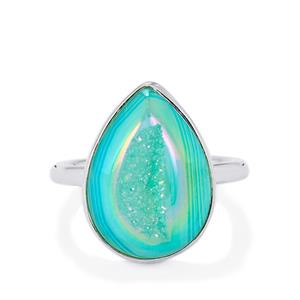 Mint Drusy Ring in Sterling Silver 9.10cts