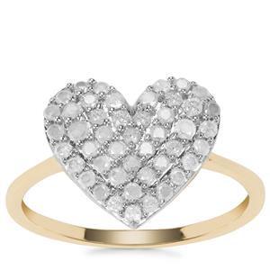 Diamond Heart Ring in 9K Gold 0.52ct
