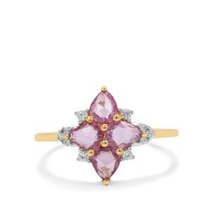 Rose Cut Purple Sapphire Ring with Ratanakiri Zircon in 9K Gold 1.20cts