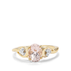 Zambezia Morganite & White Zircon 9K Gold Ring ATGW 1.26cts