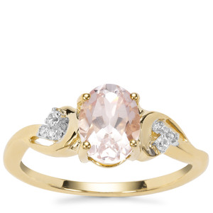 Zambezia Morganite Ring with White Zircon in 9K Gold 1.17cts