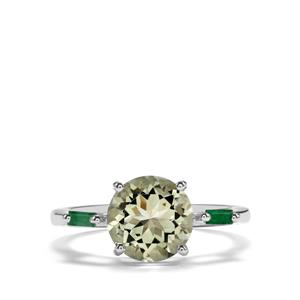 Prasiolite Ring with Luhlaza Emerald in Sterling Silver 2.51cts