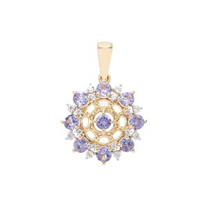 AA Tanzanite Pendant with White Zircon in 9K Gold 1.31cts